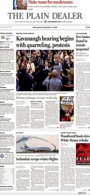 The Plain Dealer's front page for September 5, 2018