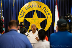 New Orleans police and city officials gave an update on Sept. 25, 2018 about the South Claiborne mass shooting in July.