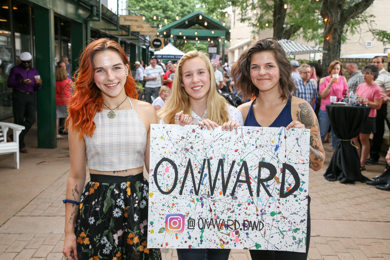 Amelia Spear, Janelle Cavanaugh, and Amanda Spear from the band Onward pose at White Lion Wednesday at The Shops at Marketplace in Springfield on June 20, 2018. (Chris Marion / The Republican)