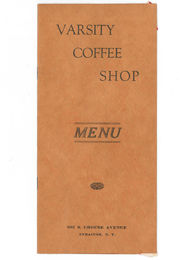 See an original menu from Varsity Coffee Shop, which would later become Varsity Pizza