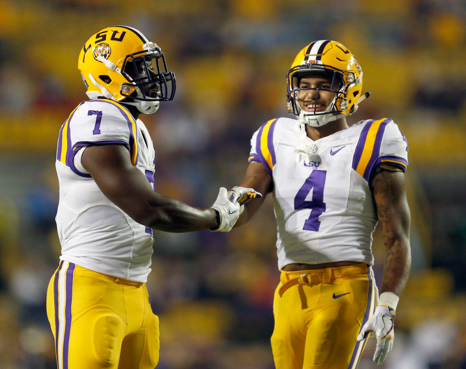 7dc515382 LSU running backs Leonard Fournette (7) and Nick Brossette (4) during warm  up before LSU took on the Mississippi Rebels in Baton Rouge on Saturday, ...