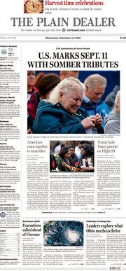 The Plain Dealer's front page for September 12, 2018