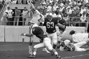 "Heading into the 1988 game at Penn State, the Scarlet Knights had lost  15 straight games to the Nittany Lions. They were a decisive underdog, but defied the odds to upset Joe Paterno's 14th-ranked squad, 21-16.  ""I just remember our defense came up with a great goal-line stand at the  end of the game,"" Scott Erney (pictured above), the Rutgers quarterback on the '88 team,  told NJ Advance Media in a Sept. 14, 2014, report. ""I remember going out  the last couple of plays and taking a knee and being swamped my  teammates after we took a knee on the last play of the game. It was a  great game."""