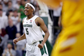 Michigan State guard Cassius Winston (5) celebrates after a 3-pointer during the second half of their college basketball game against Louisiana-Monroe at the Breslin Center in East Lansing on Wednesday, November 14, 2018. Michigan State won the game, 80-59. (Mike Mulholland | MLive.com)