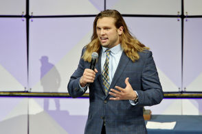 Michigan defensive lineman Chase Winovich addresses the crowd after winning the Richard Katcher Award, given to the top defensive lineman, during the Michigan football awards show at Crisler Center in Ann Arbor on Sunday, December 9, 2018. (Mike Mulholland | MLive.com)