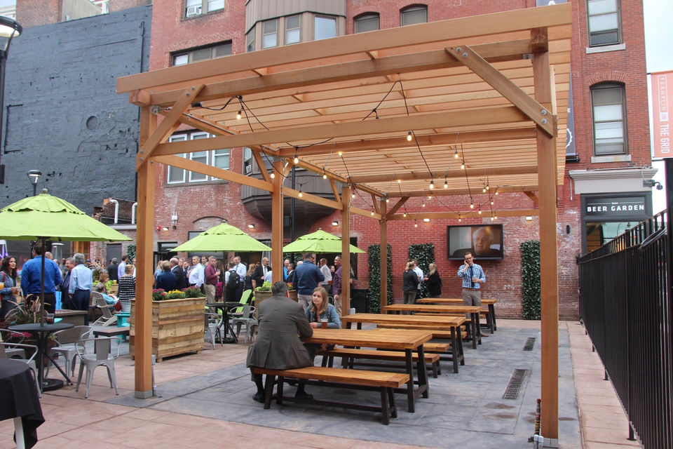 Worcester 39 s brew beer garden opens downtown with outdoor terrace 36 beers on tap for What is a beer garden