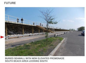 The boardwalk that will be on top of the buried seawall will be five feet higher than the boardwalk that is there now, according to the Army Corps.