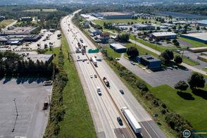 Aerial view of Interstate 83 near the Union Deposit Road interchange.