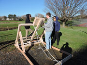 Test launch for pumpkin projectiles at Easton Area High School