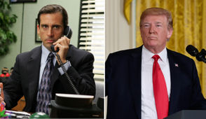 """At left, Steve Carell is pictured playing Michael Scott in a scene from NBC's """"The Office."""" At right, President Donald Trump is seen in the White House before signing an executive order to establish a National Space Council, Friday, June 30, 2017."""