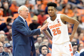 Syracuse coach Jim Boeheim has gone with the same starting lineup through the Orange's two exhibitions and first two regular season games.  It's a lineup born out of injuries to all three of Syracuse's point guards. As a result, shooting guard Tyus Battle has played the point with freshman Buddy Boeheim starting at the off-guard spot. The frontcourt has consisted of sophomore Elijah Hughes, sophomore Oshae Brissett and senior Paschal Chukwu. It's likely that Boeheim sticks with that lineup, although freshman point guard Jalen Carey has recovered from his sprained ankle. It's possible that Boeheim could go with Carey at the point so Battle can move back to his natural position.