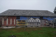Historic Bushkill Center scene depicted in building mural