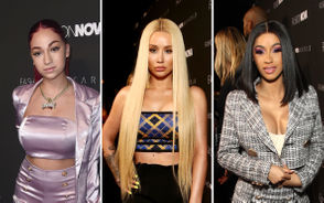 From left to right, Bhad Bhabie, Iggy Azalea and Cardi B attend the Fashion Nova x Cardi B Collaboration Launch Event at Boulevard3 on November 14, 2018 in Hollywood, California.