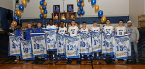St. Peters seniors were honored before defeating St. Joseph by-the-Sea 56-40 in a CHSAA contest, held the Eagles Cardinal Spellman Auditorium in New Brighton. January 18, 2019. (Staten Island Advance/Derek Alvez)
