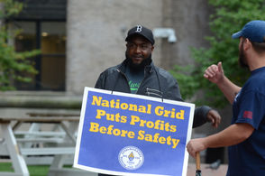 As Boston City Councilors call for meeting on gas safety, locked out National Grid workers protest outside