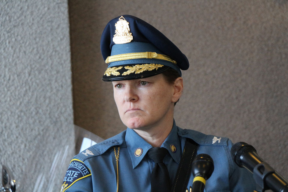 State Police Col. Kerry Gilpin announced that an audit revealed troopers assigned to the Massachusetts Turnpike did not show up for patrols.