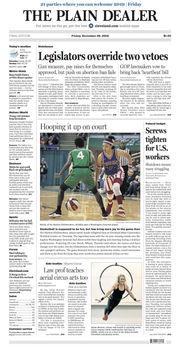 The Plain Dealer's front page for December 28, 2018