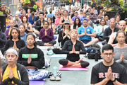 Yoga Fest held on pedestrian plaza in Jersey City