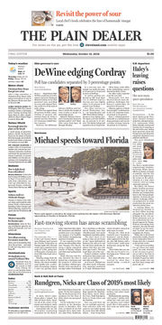 The Plain Dealer's front page for October 10, 2018