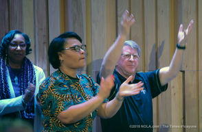 Quint Davis, right, and New Orleans Mayor LaToya Cantrell clap along to live music during a news conference for the New Orleans Jazz and Heritage Festival lineup at the George and Joyce Wein Jazz and Heritage Center in New Orleans on Tuesday, January 15, 2019.