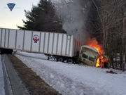 Traffic on Interstate 84 eastbound detoured through Sturbridge weigh station after fiery tractor trailer crash