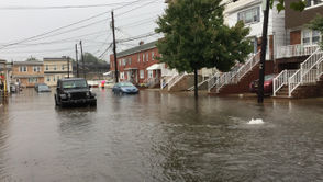 Torrential downpours have left many streets in Hudson County flooded on Tuesday, Sept. 25, 2018.