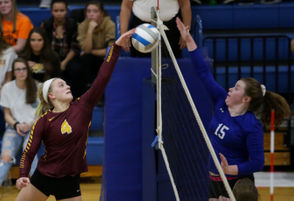 Photos of Manchester volleyball player Jayden Humphrey in action.