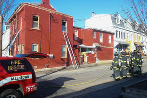 A fire broke out Sunday, Nov. 11, 2018 at an apartment building along North Third St. in Allentown.