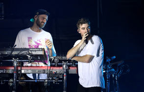 Alex Pall, left, and Andrew Taggart of The Chainsmokers perform live exclusively for American Airlines AAdvantage Mastercard cardmembers at The Fillmore Philadelphia on June 20, 2018 in Philadelphia, Pennsylvania.