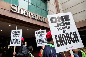 More than 1,500 workers employed by Marriott hotels are on strike in Boston. See photos from the picketing lines.