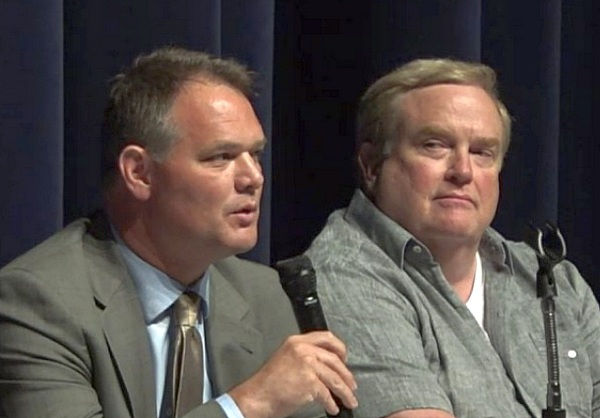 "West Springfield will become the fourth community in Massachusetts to host a so-called Gulen charter school when Chicopee-based Hampden Charter School of Science opens a branch in West Side this September, according to John Martin, shown at left holding microphone, a lawyer representing the Republic of Turkey, and Mark S. Hall, right, the director and producer of ""Killing Ed,"" a documentary shown Wednesday night at West Springfield High School."