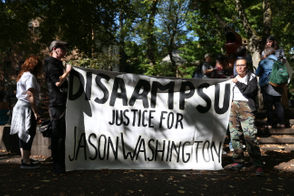 The PSU Student Union is holding a protest of armed campus police after the death of Jason Washington in June.