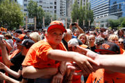 Thousands greet Oregon State baseball during Pioneer Square rally in downtown Portland