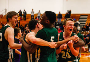 """MUSKEGON -- Josh Jordan's blind, behind-the-head, left-handed flip into the basket in the game's key moment may have been """"pure luck,"""" the 6-foot-5 Reeths-Puffer junior forward later acknowledged. But, make no mistake: The Rockets' 63-59 overtime victory over Muskegon at the Big Reds' Redmond-Potter Gymnasium Tuesday night was no fluke. R-P snapped Muskegon's 58-game OK Black Conference winning streak, overcoming a nine-point, fourth-quarter deficit. The Rockets largely remained composed, got to the basket, drew fouls and made free throws at a very high clip to pull off the biggest win during their breakout season. Reeths-Puffer improves to 10-1 overall with its eighth straight win, and the Rockets now sit alone atop the OK Black with a 4-0 record. Muskegon, which was on the cusp of the Associated Press' top 10 for Division 1, slips to 4-3 and 2-1, respectively."""