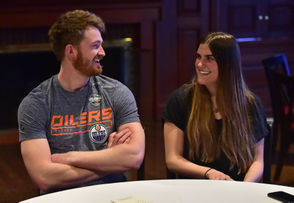 "Trevor Gretzky, son of Wayne Gretzky, and Alexa Lemieux, daughter of Mario Lemieux, discuss filming ""Odd Man Rush"" in Hamilton on Friday."