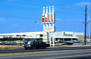 """The mall creatively name """"The Mall"""" is shown on North Parkway in Huntsville in the 1970s. The photo shows Penney's, Walgreens, Butler's Shoes and other department stores."""