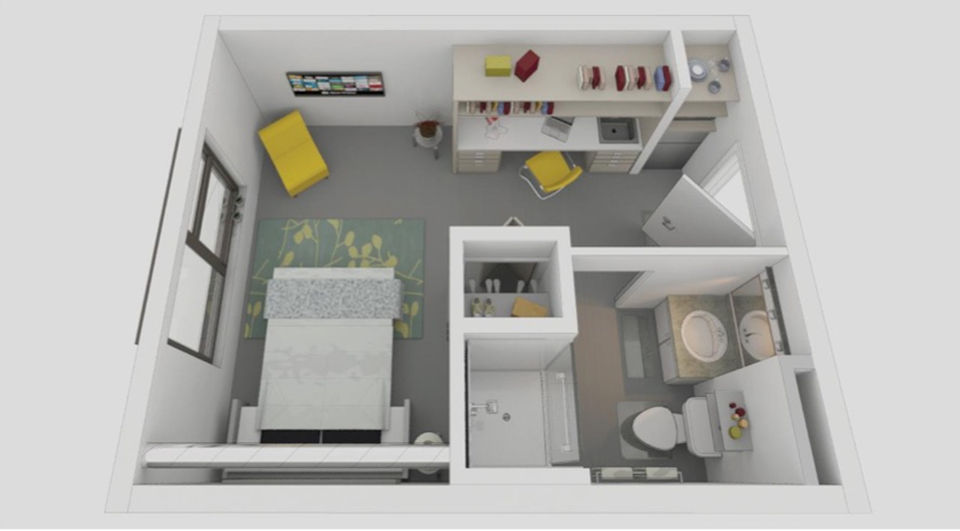 This Rendering Shows A Typical Residential Micro Apartments Planned At Brio Lofts And Zeal The Living Units Average 250 Square Feet Vibrant Cities