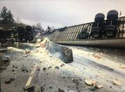 Semi rolls over on I-5 in Washington, spills powdered milk everywhere