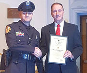 Agawam police officer receives Medal of Valor for saving woman from burning building