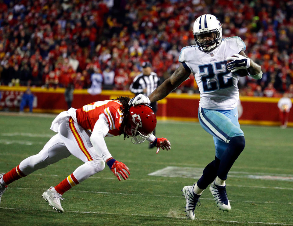 The Titans' Derrick Henry ran for 156 yards in a 22-21 victory over the Chiefs in an NFL playoff game on Saturday.