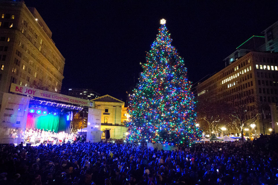 Tree lighting at Pioneer Courthouse Square - 7 Things To Do In Portland After The Turkey's All Gone OregonLive.com