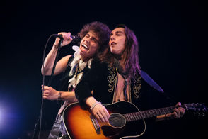 Josh Kiszka and Jake Kiszka of the band Greta Van Fleet perform on stage during the KROQ Absolut Almost Acoustic Christmas at The Forum on December 8, 2018 in Inglewood, California.