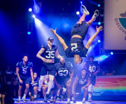 Penn State football freshmen dance in Thon Pep Rally