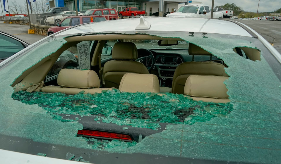 Security video shows baseball-sized hail damaging new vehicles in ...
