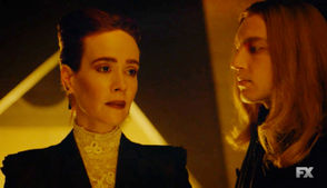 """Sarah Paulson and Cody Fern in a scene from """"American Horror Story: Apocalypse"""" episode 2: """"The Morning After."""""""