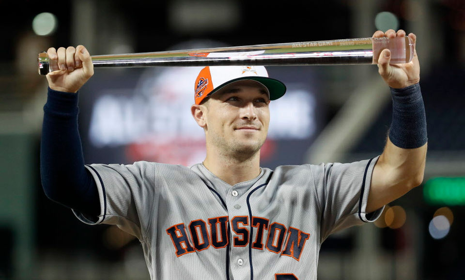 Former LSU baseball player Alex Bregman homers in the 10th inning of the MLB All-Star Game, Tuesday, July 17, 2018.