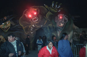Visitors leave Sheriff Foti's 1990 Haunted House in City Park.
