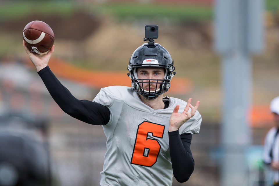 Oregon State football practice at Mountainside High School
