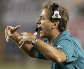"""Nick Saban, winner of six national championships, is maybe the greatest coach in college football history. But he will be forever known as a quitter in Miami. Saban agreed to coach the Miami Dolphins in 2004 but they struggled for much of his two years. (The team's decision to sign Daunte Culpepper rather than Drew Brees was particularly baffling.) As the 2005 season ground to a disappointing end, Saban was rumored to be on top of Alabama's coaching wish list. Saban said he was going nowhere and said on Dec. 21, 2005: """"I guess I have to say it. I'm not going to be the Alabama coach."""" Ten days later he was in Tuscaloosa, meeting with Alabama officials."""