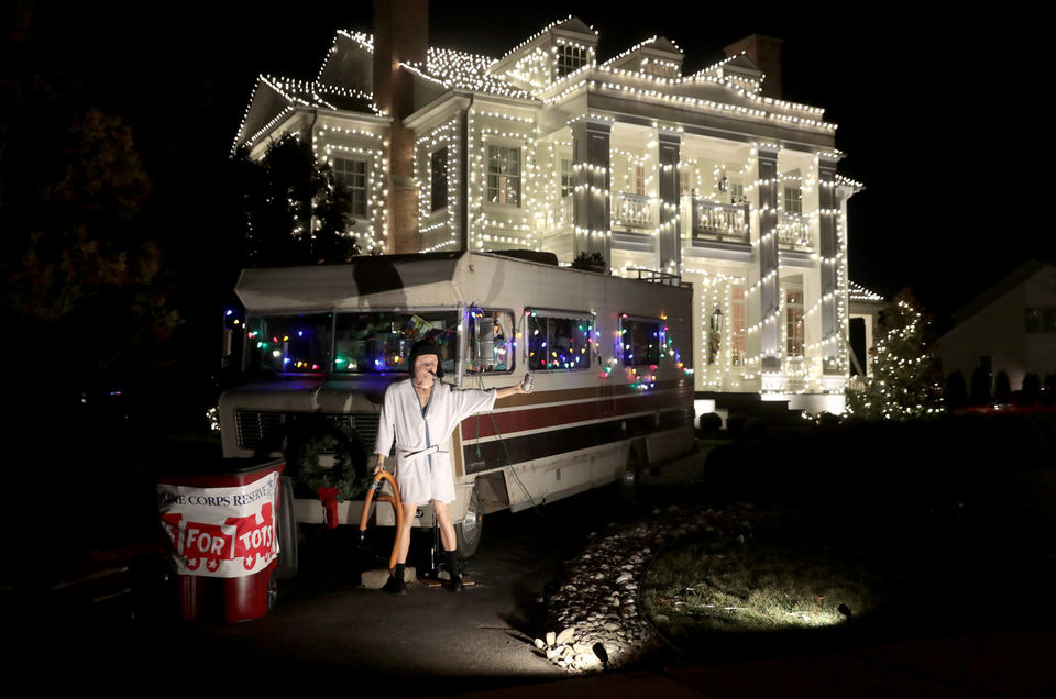 Cousin Eddie and his RV are part of Steve Harbaugh's recreated light  display of the
